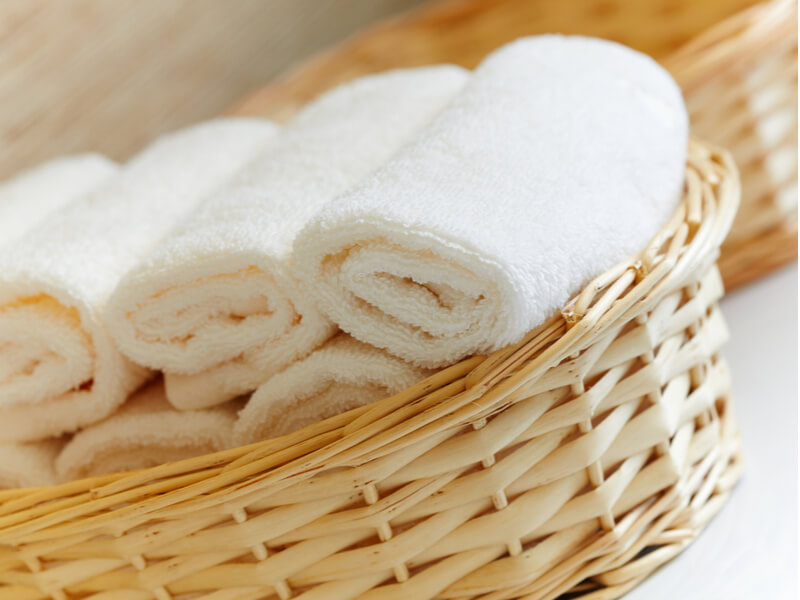 ふわふわの白いタオル