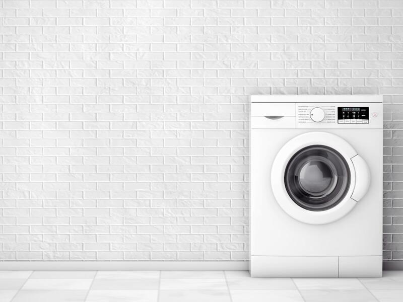 フタが閉まった白い洗濯機